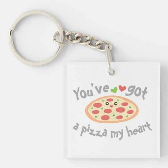 You've Got a Pizza My Heart Cute Funny Love Pun Double-Sided Square Acrylic Key Ring