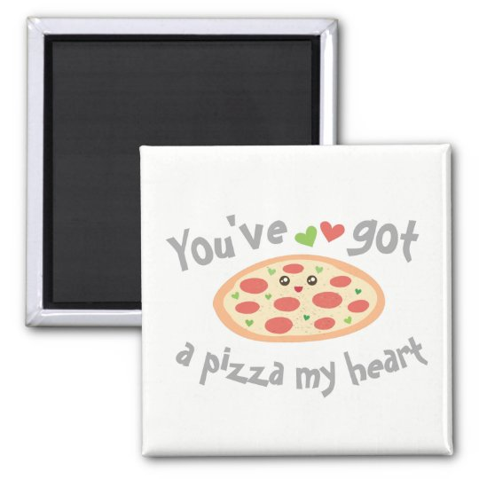 You've Got a Pizza My Heart Cute Funny Love Pun Square Magnet