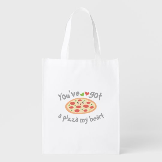 You've Got a Pizza My Heart Funny Punny Food Reusable Grocery Bag