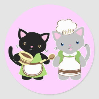 Yoyo and Suki Neko baking kitties Classic Round Sticker