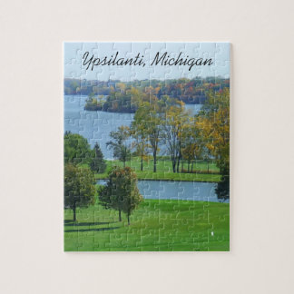 Ypsilanti Michigan Golf Course on Lake Trees Jigsaw Puzzle