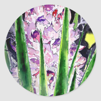 yucca flower southwestern watercolor art round stickers