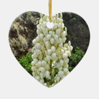 Yucca flowers in the Azores. Ceramic Heart Decoration