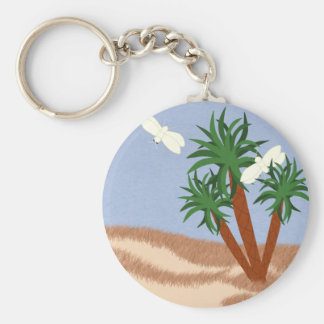Yucca Plants and Yucca Moths Whimsical Cartoon Art Keychains