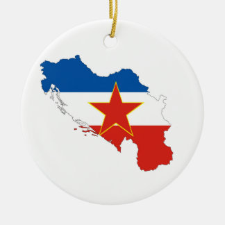 yugoslavia country flag map shape silhouette symbo round ceramic decoration