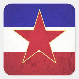 Yugoslavia flag square sticker