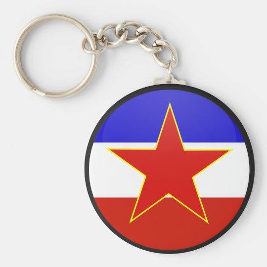 Yugoslavia quality Flag Circle Basic Round Button Key Ring
