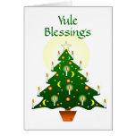 Yule Blessings with Yule Tree Pagan Wiccan Card