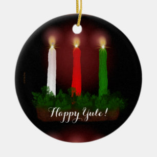 Yule Candles Winter Solstice Photo Ready Christmas Ornament