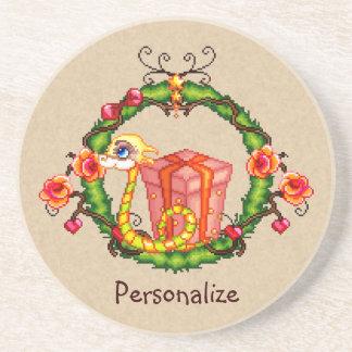Yule Dragon Wreath Pixel Art Coaster