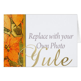 Yule Faux Gold Embossed Poinsettia & Family Photo Greeting Card