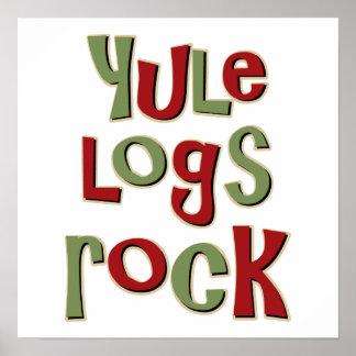Yule Logs Rock Christmas Design Posters