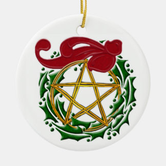 Yule Pentacle, Wreath & Red Bow - Double-Sided Christmas Ornament