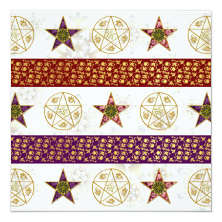 Yule Pentagrams & Snowflakes - Greeting Card 13 Cm X 13 Cm Square Invitation Card