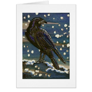 Yule Raven in Snow Card