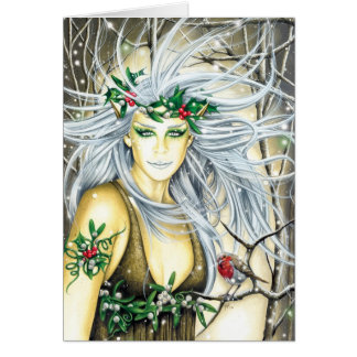 Yule Snow Queen Faerie Card