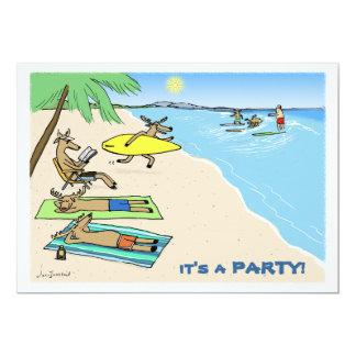 """Yule Tide"" - Santa and Reindeer Beach Vacation 13 Cm X 18 Cm Invitation Card"