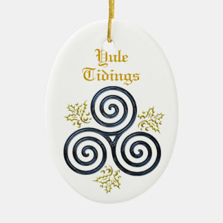 Yule Tidings Blue Triple Spiral & Holly Christmas Ornament