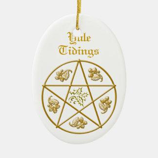 Yule Tidings Gold Pentacle, Holly & Oak Ceramic Oval Decoration