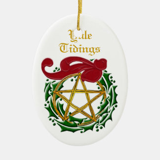 Yule Tidings Pentacle & Wreath Double-Sided #2 Christmas Ornament