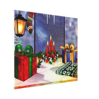 Yule Time Reflections Holiday Art Stretched Canvas Prints