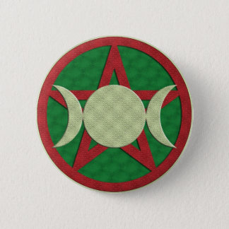 Yule Triple Goddess Pentagram 6 Cm Round Badge