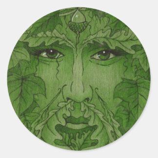 yuleking green classic round sticker