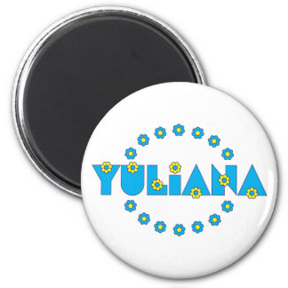 Yuliana in Flores Blue 6 Cm Round Magnet
