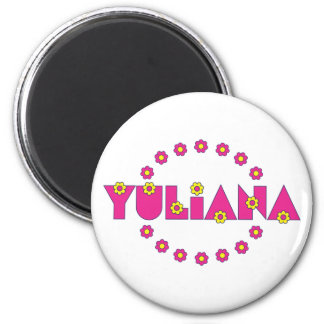 Yuliana in Flores Pink 6 Cm Round Magnet