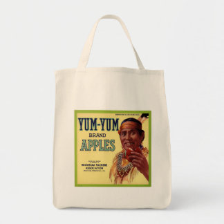 YUM YUM BRAND APPLES VINTAGE CRATE LABEL GROCERY TOTE BAG