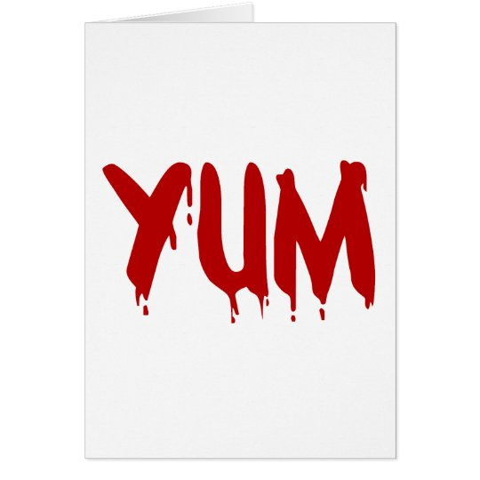 YUM Yummy Blood Bloody Meat Halloween Vampire BBQ Card