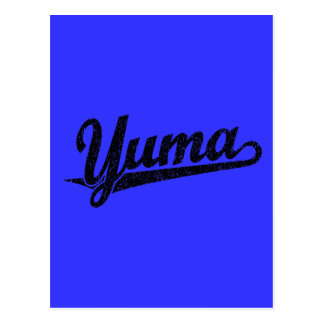 Yuma script logo in black distressed post card