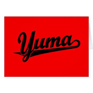 Yuma script logo in black greeting card