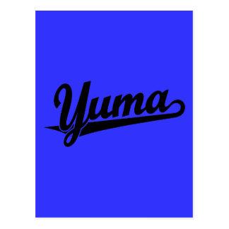 Yuma script logo in black postcard