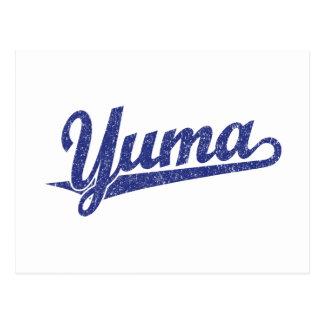 Yuma script logo in blue distressed post card