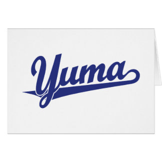 Yuma script logo in blue greeting card
