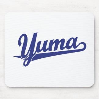 Yuma script logo in blue mouse pad