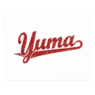 Yuma script logo in red distressed postcard