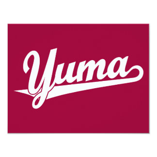 Yuma script logo in white 11 cm x 14 cm invitation card