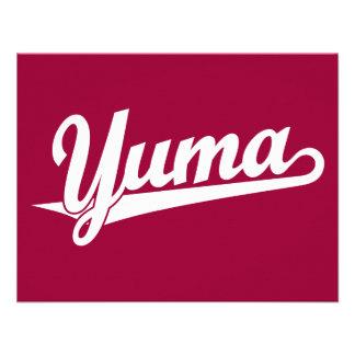 Yuma script logo in white announcement