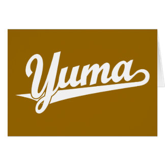 Yuma script logo in white cards