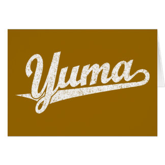 Yuma script logo in white distressed greeting cards