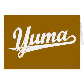 Yuma script logo in white greeting card