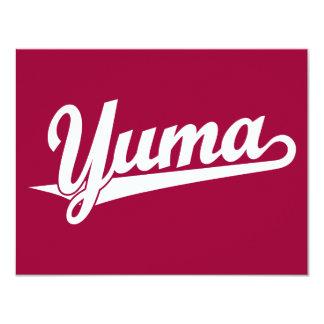 """Yuma script logo in white 4.25"""" x 5.5"""" invitation card"""