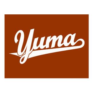 Yuma script logo in white postcard