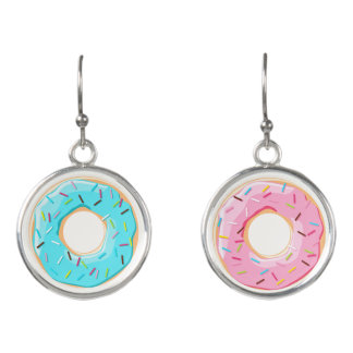 Yummy blue pink donuts sprinkles toppings earrings