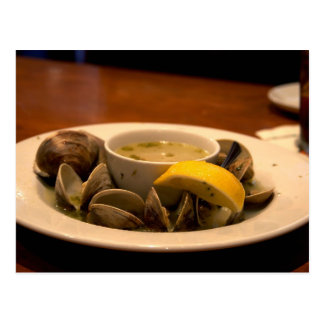Yummy Bowl Of Steamed Clams In Broth Postcard