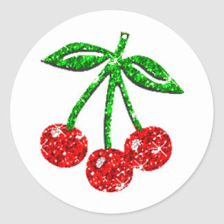 YUMMY CHERRIES GLITTER GRAPHICS FOODS FRUITS CLASSIC ROUND STICKER