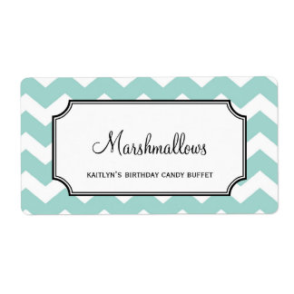 Yummy chevron blue custom candy buffet jar bulk shipping label