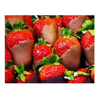 Yummy Chocolate-Coated Strawberries Postcard